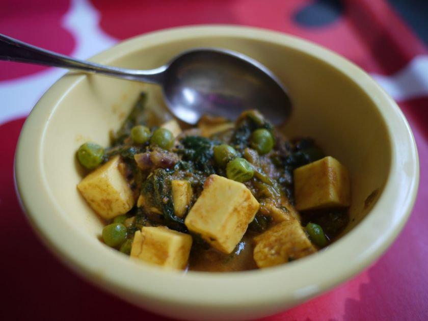 Pea, Cheese and Spinach Curry