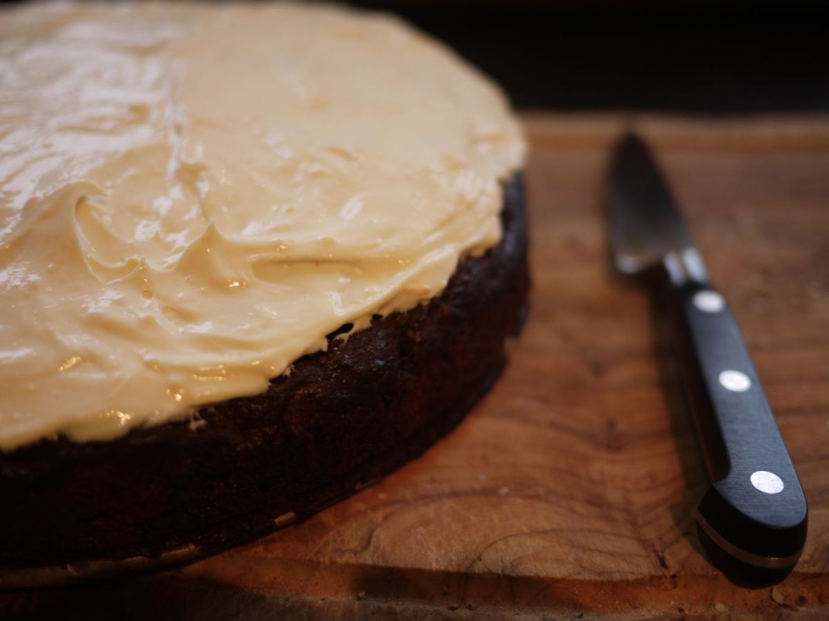 Chocolate, Orange and Prune Cake with Orange & Maple Frosting